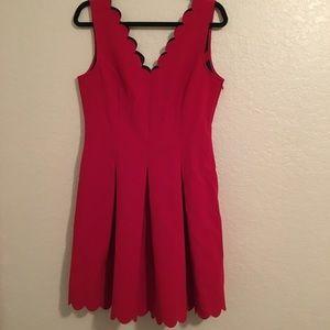 Banana Republic scalloped edges red dress